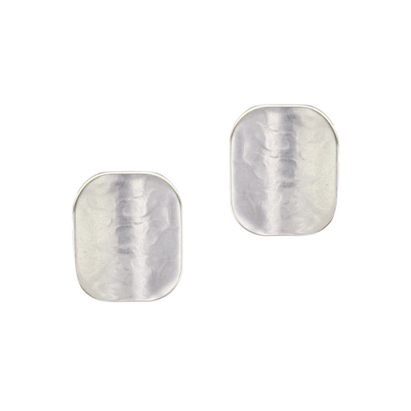 Rounded Concave Rectangle Clip or Post Earring