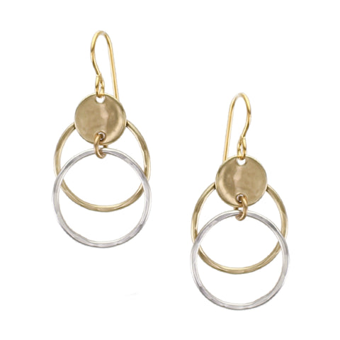 Concave Disc with Hammered Rings Wire Earring