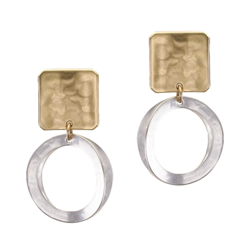 Small Concave Square with Back to Back Rings Clip or Post Earring