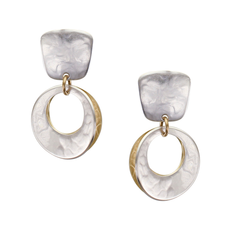Small Tapered Square with Back To Back Concave Cutout Discs Clip or Post Earring