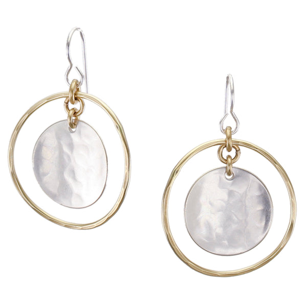Hammered Hoop with Concave Disc Wire Earring
