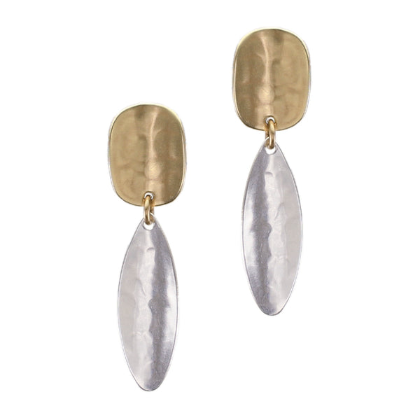 Concave Oval with Long Concave Oval Post Earring