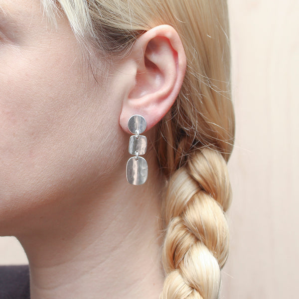 Concave Disc, Square and Oval Post Earring