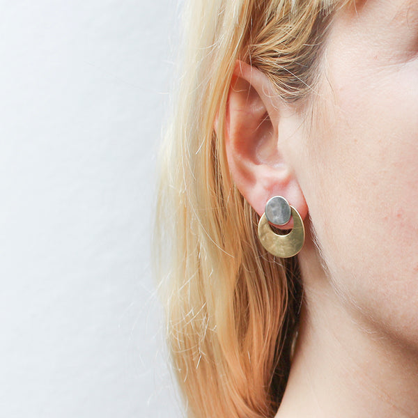 Small Curved Disc and Ring Post Earring