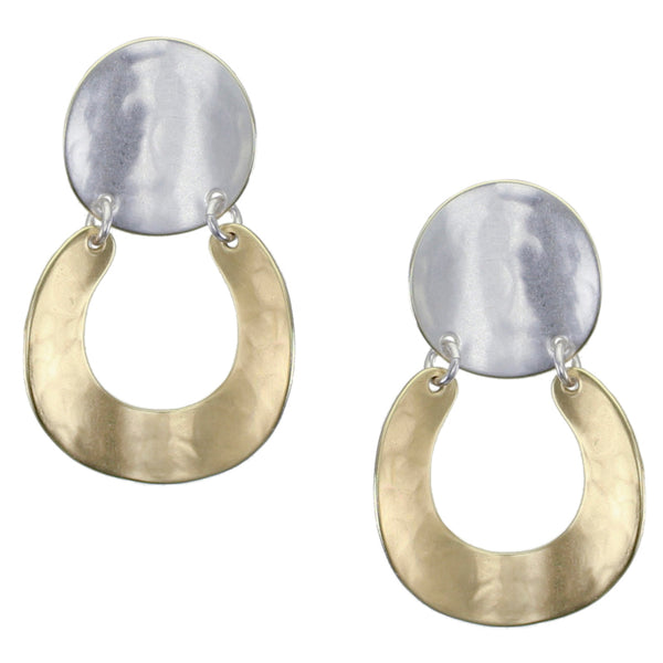 Curved Disc with Curved Horseshoe Clip Earring