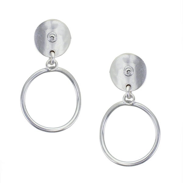 Small Curved Disc Linked with Ring Post Earring