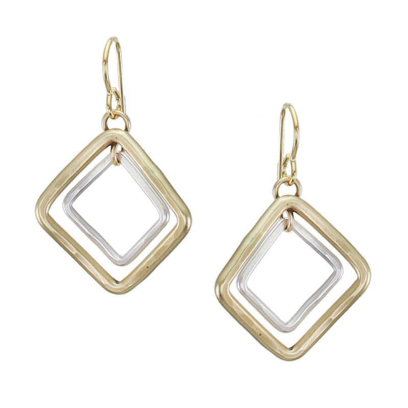 Small Tiered Square Rings Wire Earring