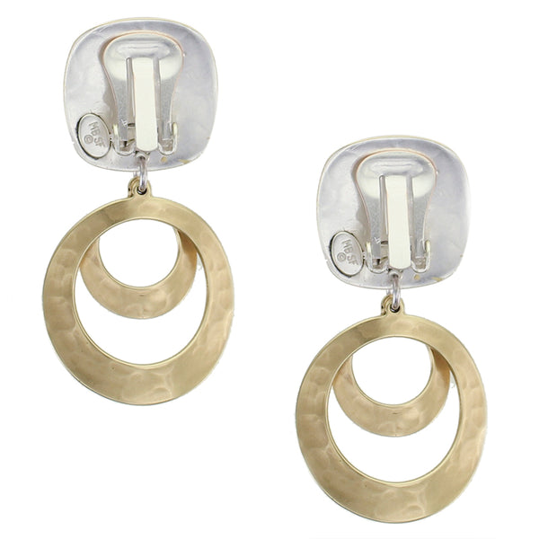 Rounded Square with Tiered Curved Rings Clip or Post Earring