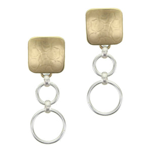 Rounded Square with Tiered Rings Post Earring
