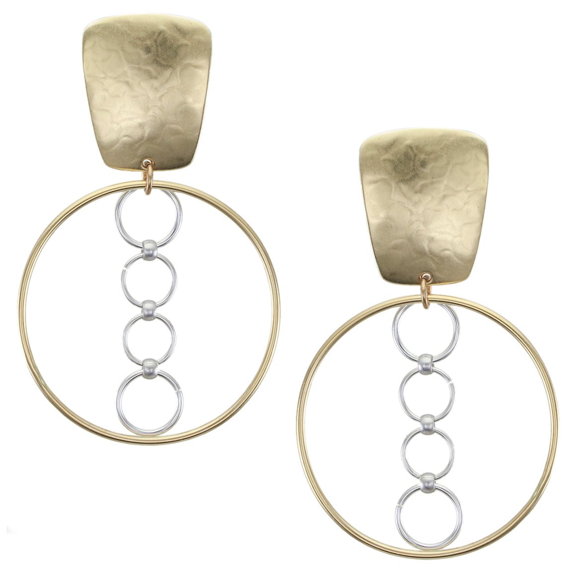 Tapered Rectangle with Large Hoop and Rings Clip Earring