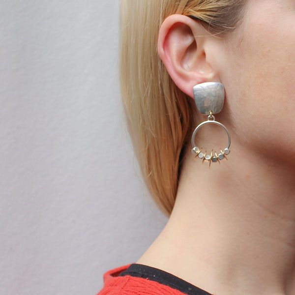 Tapered Square with Hoop and Cube and Disc Beads Clip Earring
