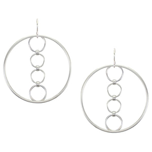 Large Hoop with Rings Wire Earring
