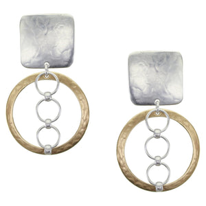 Rounded Square with Wide Rings and Rings Clip Earring