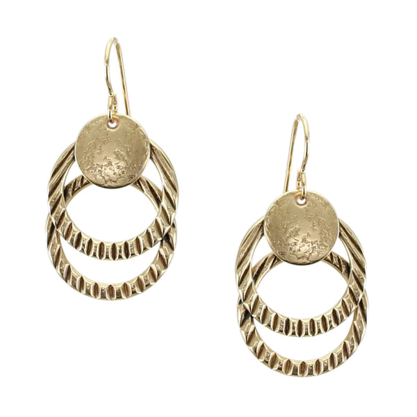 Disc with Textured Rings Wire Earring