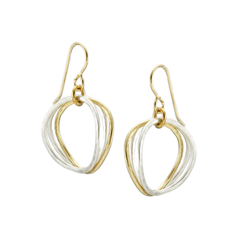 Wavy Hammered Ring Earrings