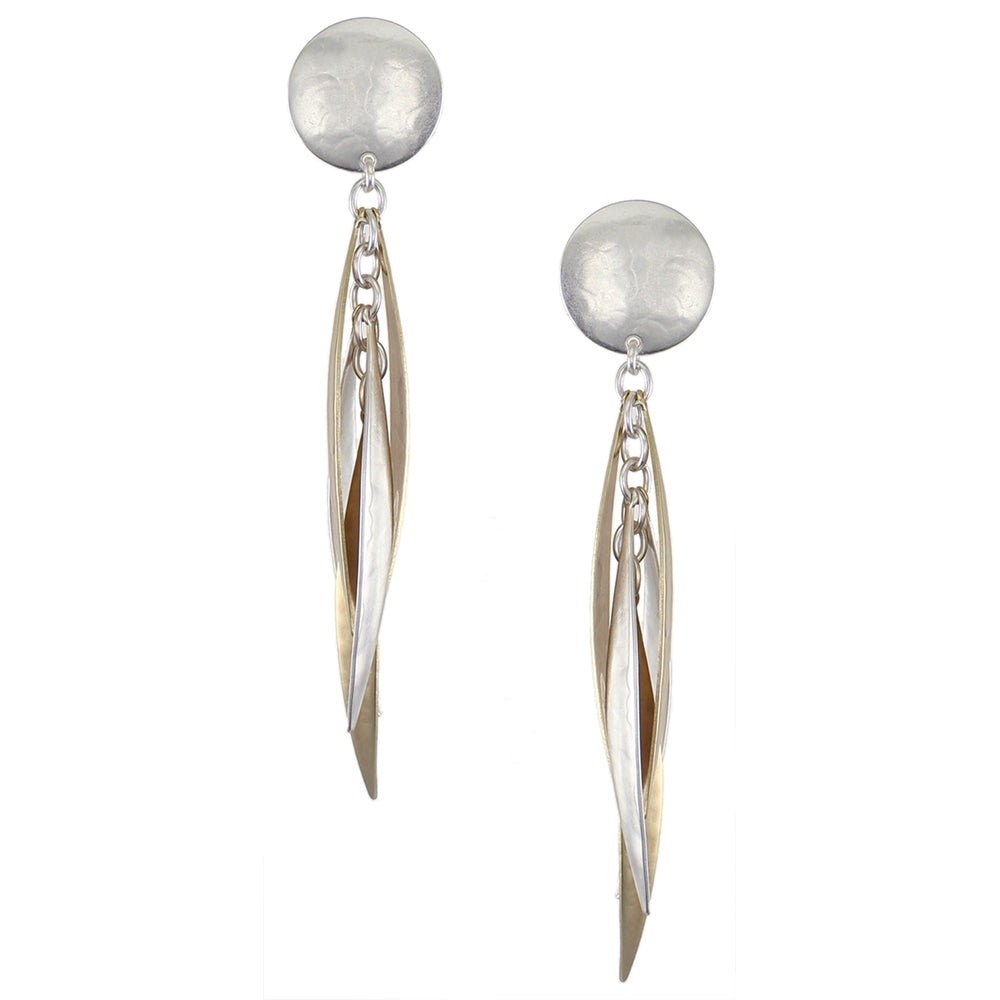 Disc with Long Tiered Leaves Earring