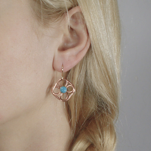 Wire Flower Earring with Cabochon in Copper