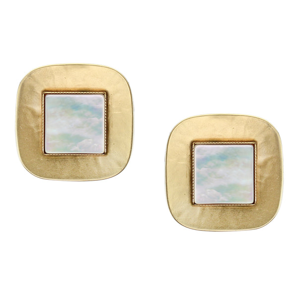 Rounded Square with Square Gemstone Earring
