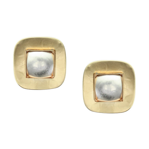 Rounded Square with Domed Center Earring