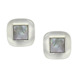 Rounded Square with Black Pearl Clip or Post Earring