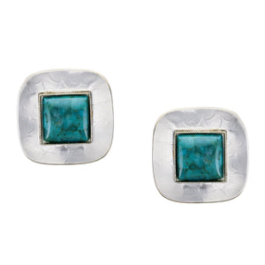 Silver Rounded Square with Square Gemstone Clip or Post Earring