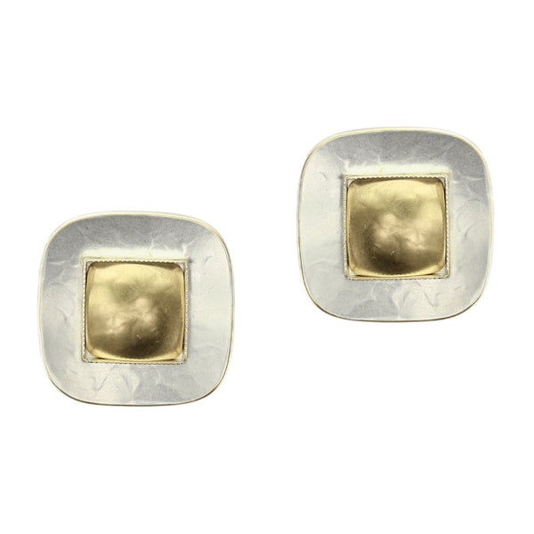 Rounded Square with Domed Center Clip or Post Earring