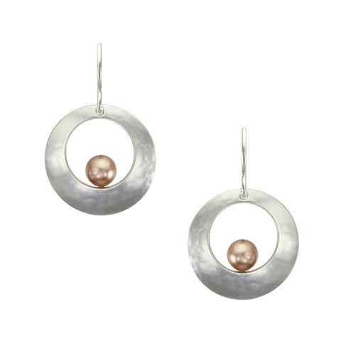 Cutout Disc with Suspended Rose Gold Pearl Wire Earring