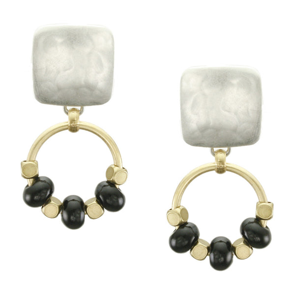 Square with Beaded Ring Earring