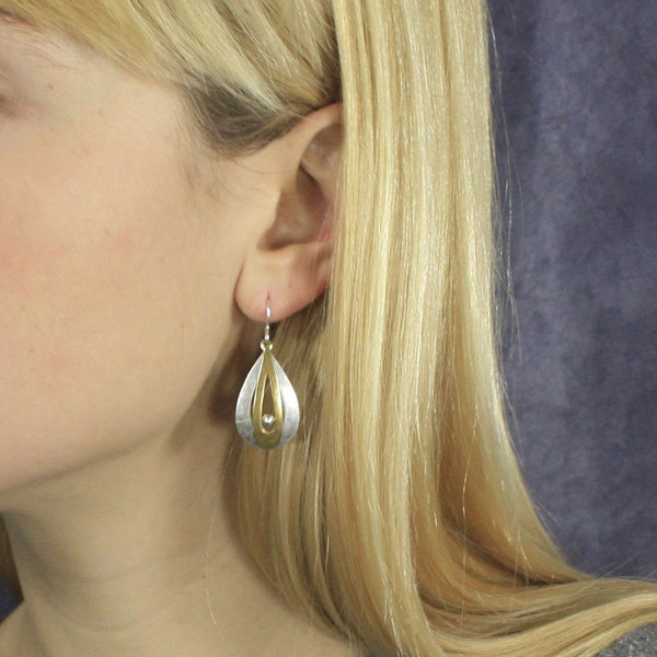 Tiered Teardrop Frames with Bead Earring