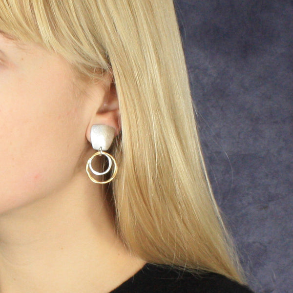 Tapered Square with Two Tiered Rings Earring