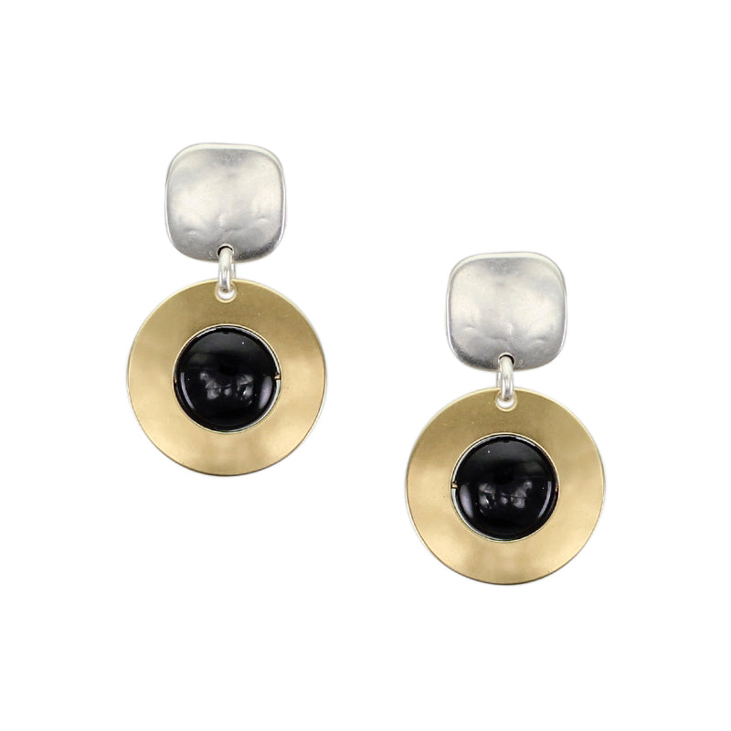 Square with Cutout Disc and Black Bead Post Earring