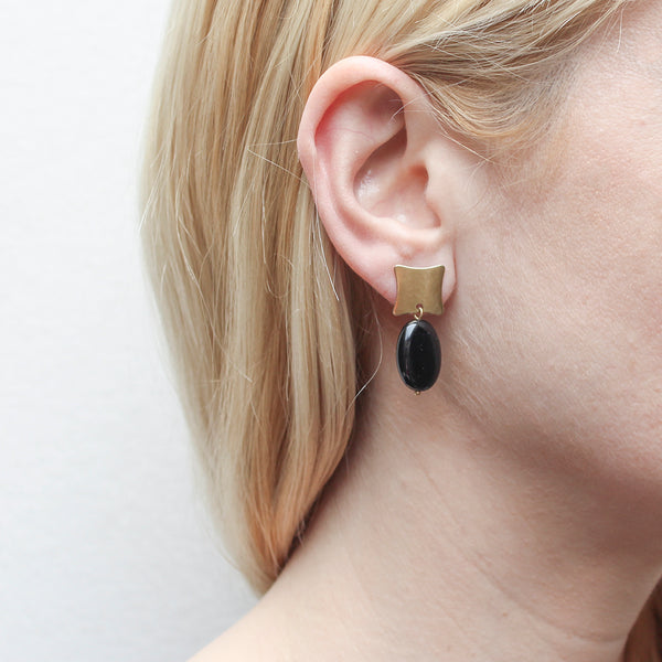 Brass Square with Black Oval Bead Post Earring