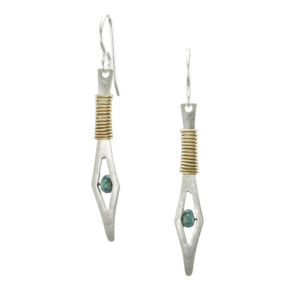 Wire-Wrapped Spear with Turquoise Bead Earring