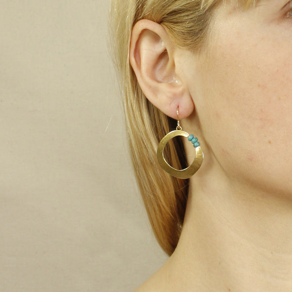 Organic Ring with Gemstone Beads Earring