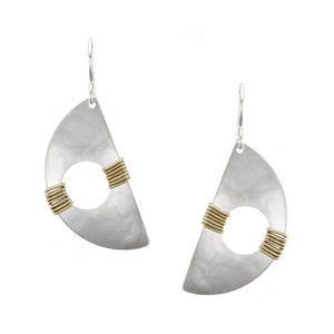 Wire-Wrapped Cutout Half Moon Earring