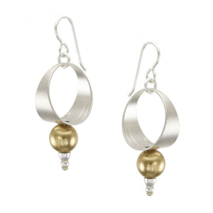 Tapered Hoop with Large Spherical Bead Earring