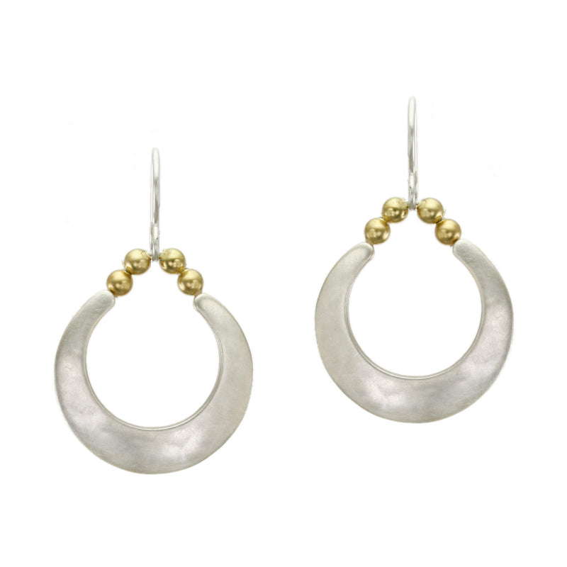 Crescent with Small Spherical Beads Earring