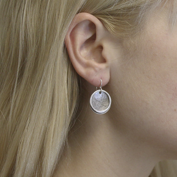 Small Layered Disc and Hammered Ring Earring