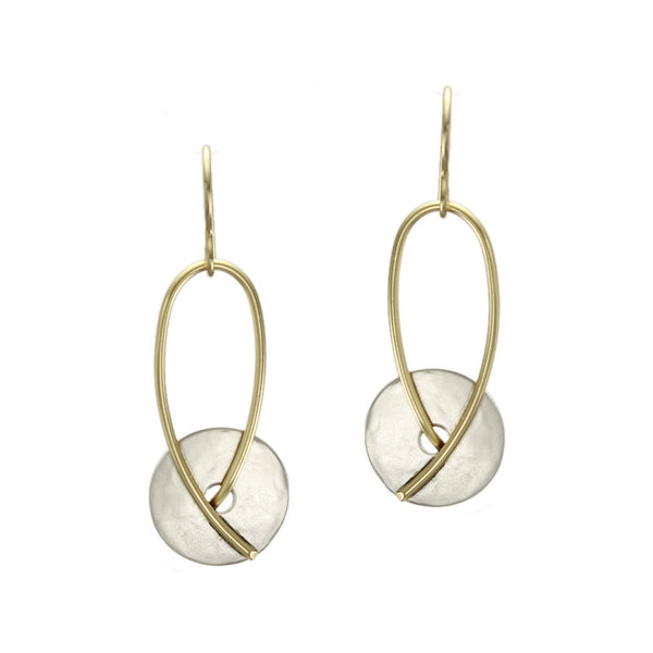 Disc and Loop in Brass and Sterling Silver Earring