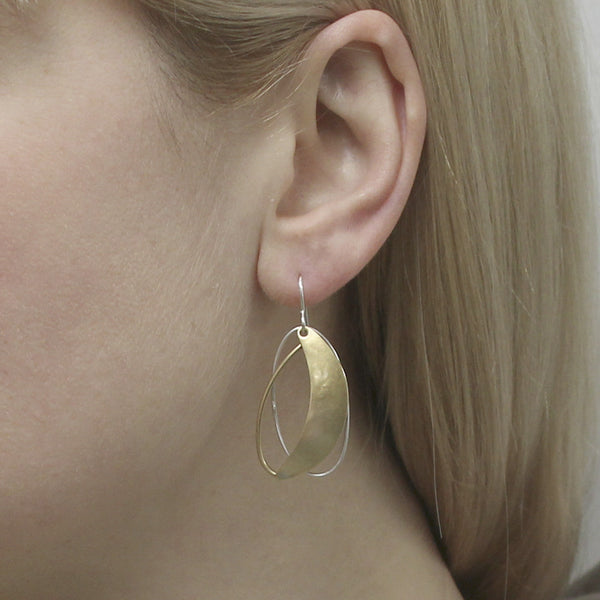 Crescent with Layered Rings Earring