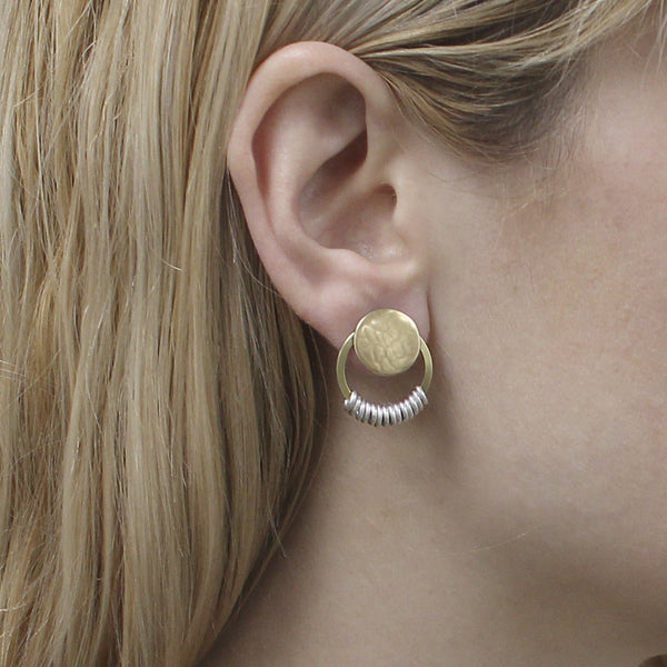 Disc with Ring and Small Accent Rings Post Earring