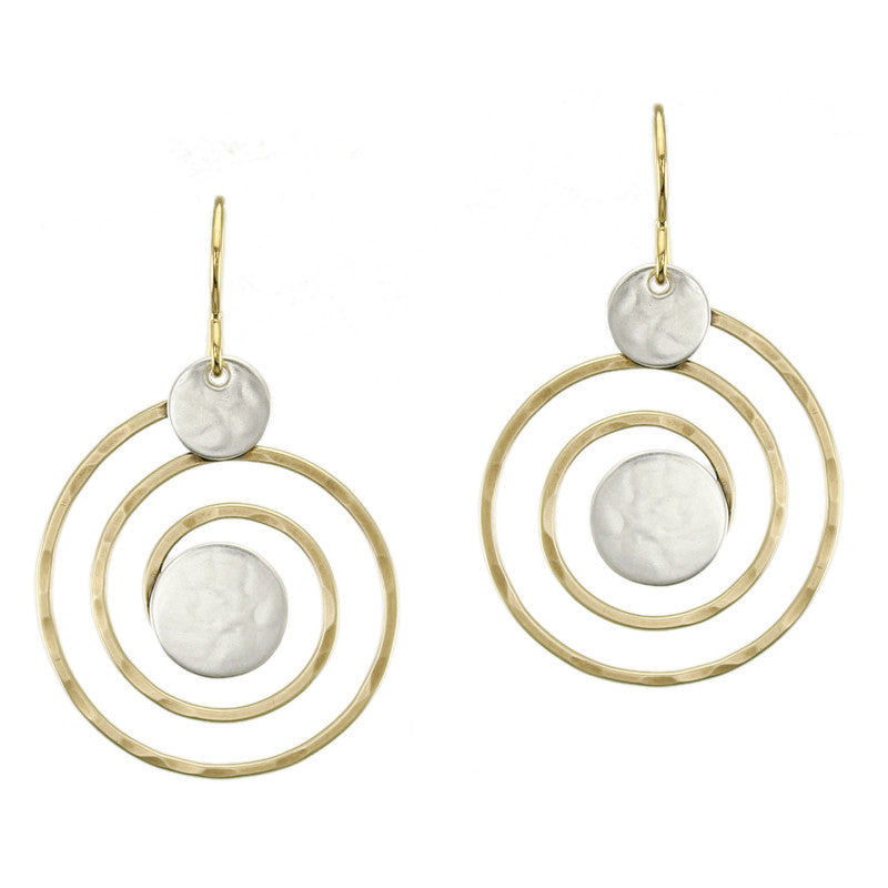 Brass Spiral with Sterling Silver Discs Earring