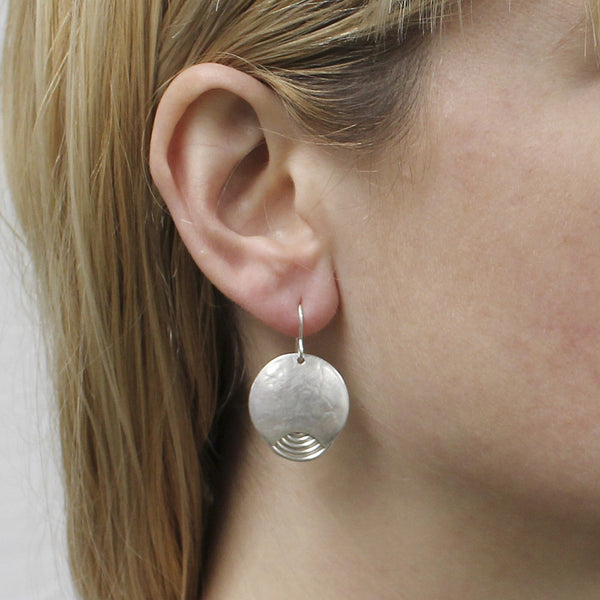 Crescent with Wire Spiral Wire Earring