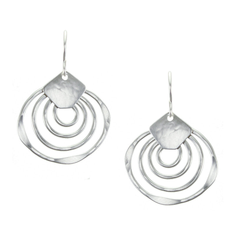 Shield with Hammered Concentric Organic Rings Earring