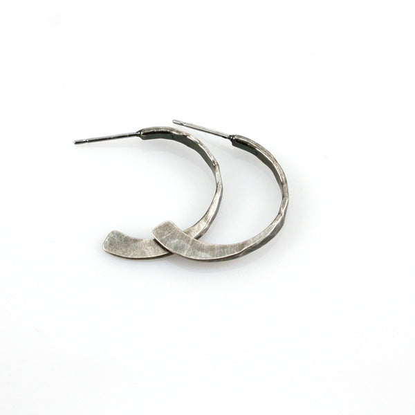 Small Hammered Hoop Post Earring