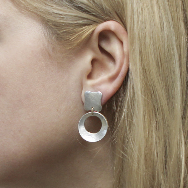 Rounded Square Linked with Back to Back Cutout Discs Post Earring