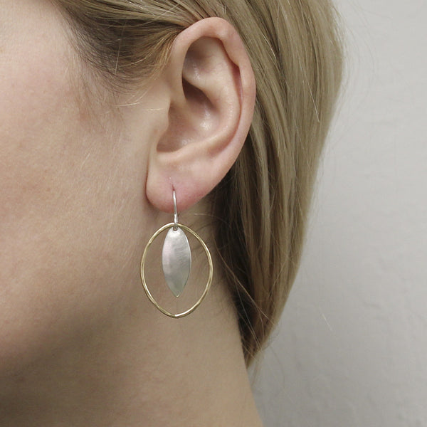 Large Leaf and Oval Ring Earring