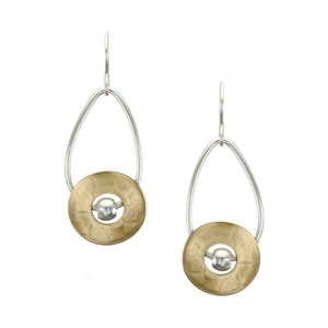 Cutout Disc with Bead and Teardrop Hoop Earring