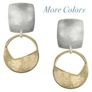 Rounded Rectangle with Ring and Crescent Clip Earring