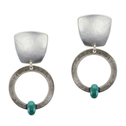 Tapered Square with Ring and Turquoise Bead Clip Earring